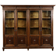"Italian 1910 Antique 4 Door 7' 6"" Carved Walnut Library Bookcase"