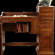 Watch Maker Oak Desk 1915 Antique Work Bench, Signed Ransom Toledo