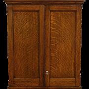 Oak 1870 Antique Cabinet, Locking Doors