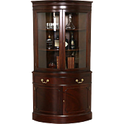 Hickory Signed Georgian Vintage Mahogany Corner Cabinet, Curved Glass Doors
