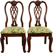Pair Carved Traditional Mahogany Side Chairs, New Upholstery
