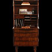 Rosewood Midcentury Danish Modern 1960's Vintage Secretary Desk Bookcase