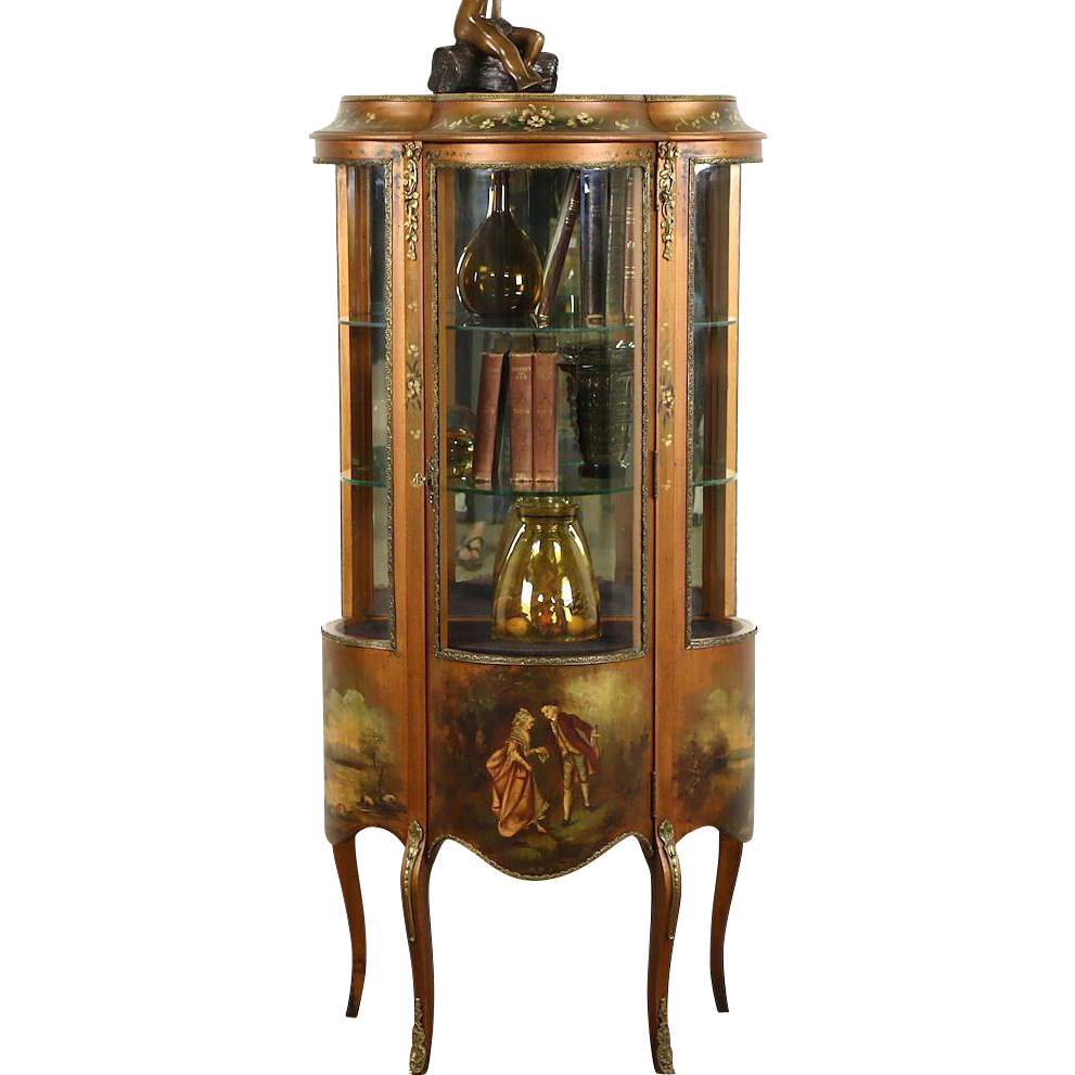 Vernis Martin 1900 Antique French Vitrine or Curio Display Cabinet, Hand Painted