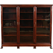 Triple 1910 Antique Mahogany Library Bookcase, Original Wavy Glass Doors