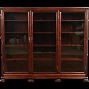 Triple 1910 Antique Mahogany Library Bookcase, Original Wavy Glass Doors