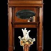 Fireplace Oak 1900 Antique Mantel, Mirror & Surround Architectural Salvage