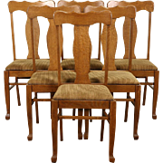 Set of Six Oak 1900 Antique Dining Chairs, New Upholstery