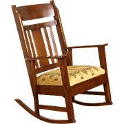 Arts & Crafts Mission Oak 1905 Antique Rocker Craftsman Rocking Chair