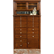 Dentist Cabinet, 1900 Oak & Marble Dental Antique, Jewelry or Collector, Signed