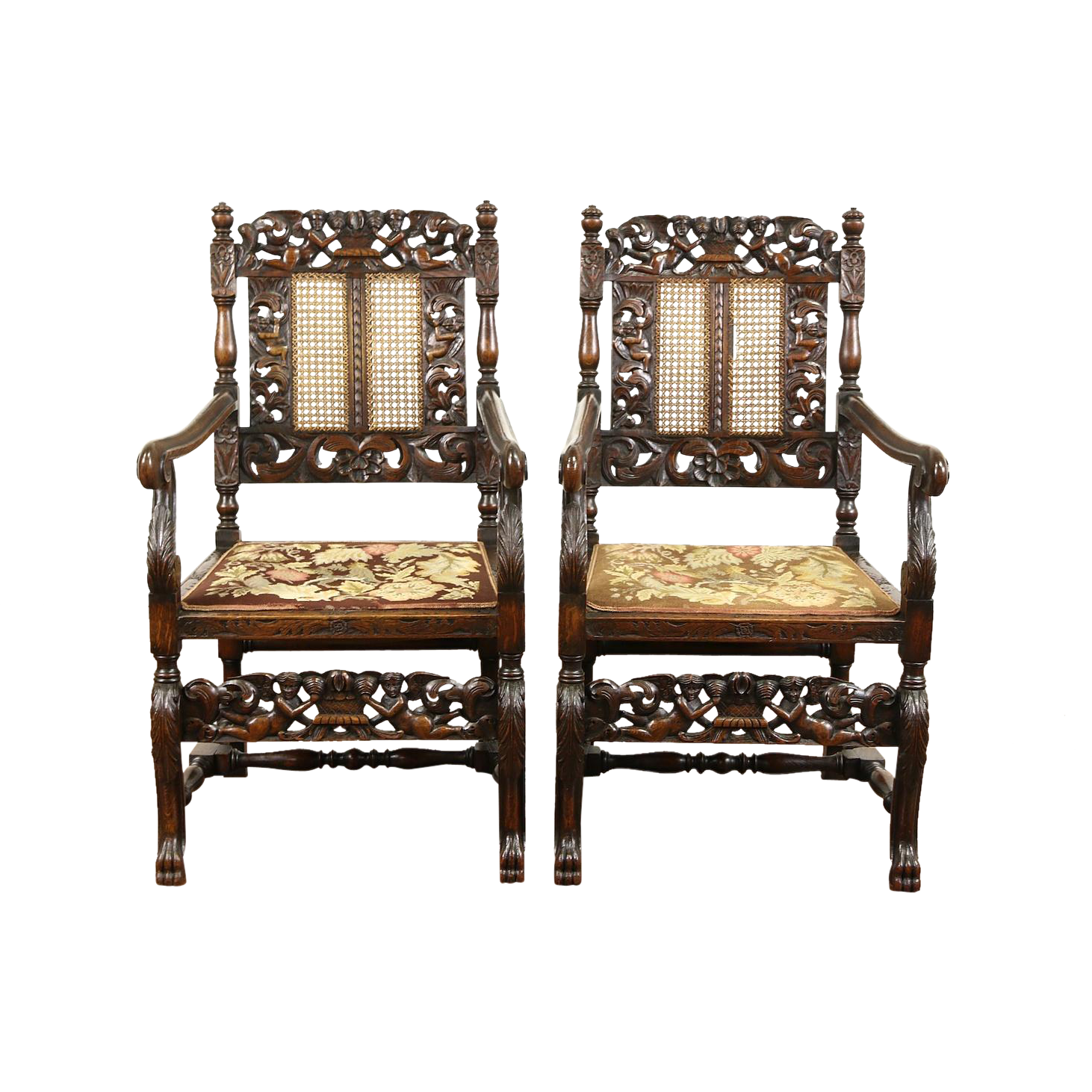 Pair of Italian 1890 Antique Oak Chairs, Needlepoint, Carved Angels or Cherubs