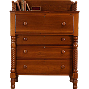 Empire 1830's Antique Cherry Tall Chest, Carved Gallery