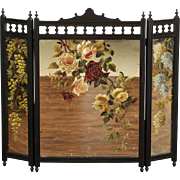 Fireplace Screen Cherry Trifold Mirror, 1880's Victorian Eastlake Hand Painted