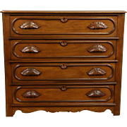 Victorian 1865 Antique 4 Drawer Ash Chest or Dresser, Carved Pulls