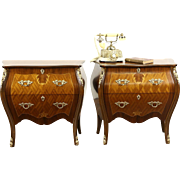 Pair of Italian Vintage Bombe Nightstands or Small Chests, Marquetry