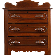 Victorian Carved 1875 Antique Walnut 3 Drawer Small Chest or Nightstand