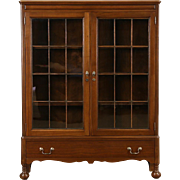Walnut 1920 Antique Library Bookcase, Leaded Glass Doors, Signed