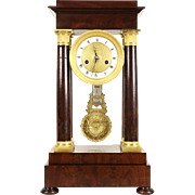 French 1820 Antique Mahogany & Gilt Bronze Pillar Mantel Clock