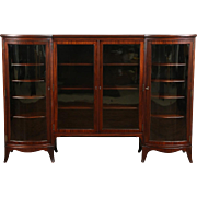 Mahogany 1900 Antique Curved Glass 4 Door Library Bookcase