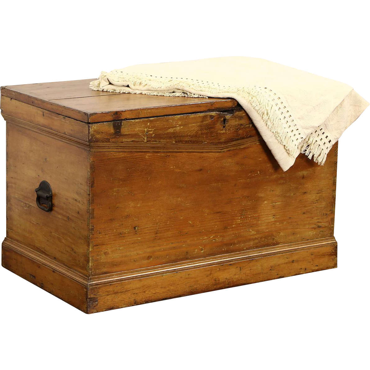 Country Pine 1870 Antique Trunk or Blanket Chest, Hand Cut Dovetail Joints