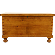 Country Pine 6 Board 1850 Antique Trunk, Blanket Chest or Coffee Table, Bun Feet
