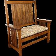 Stickley Signed Craftsman Oak Vintage Hall Bench or Settee