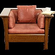 Stickley Signed Craftsman Oak Vintage Chair, Original Leather