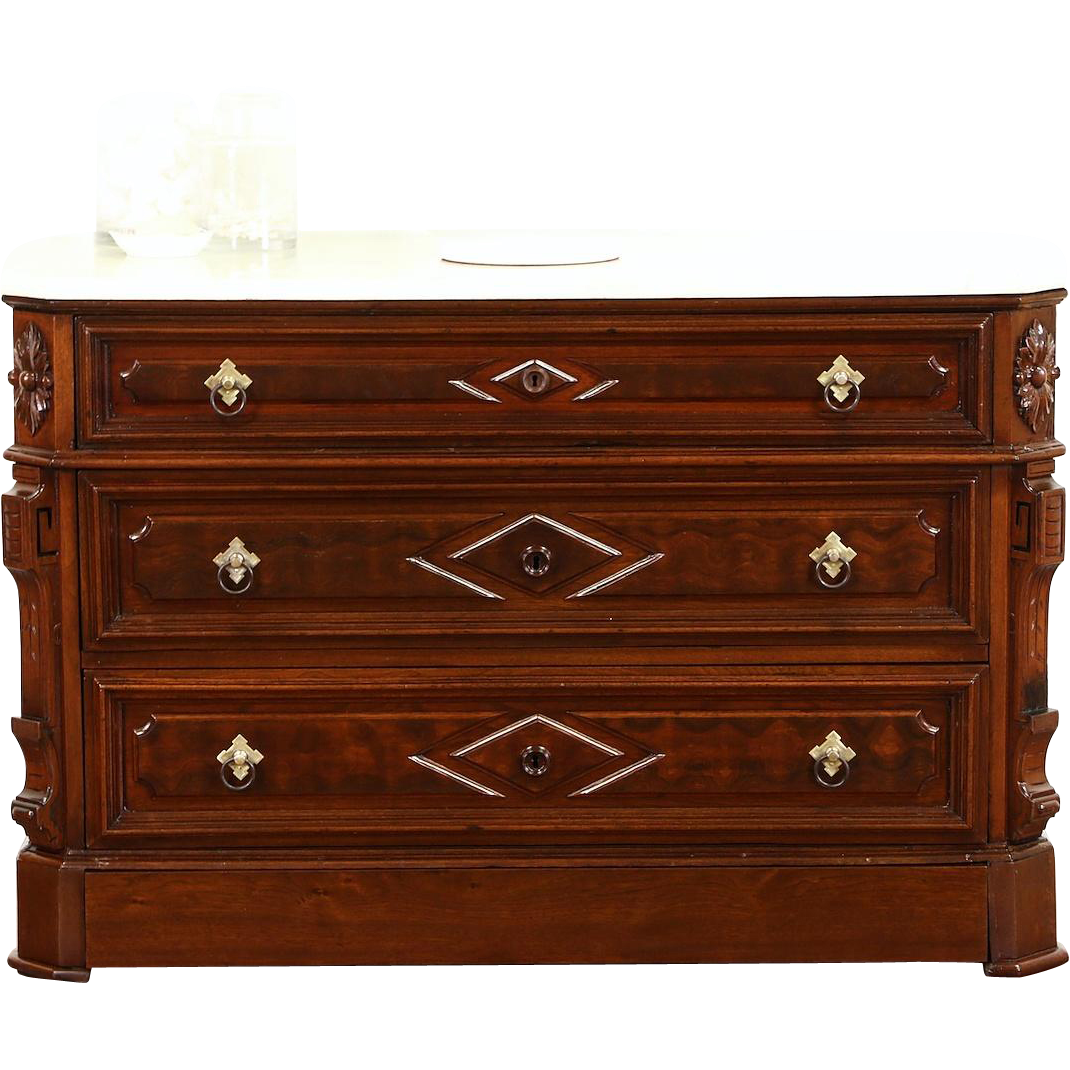 Victorian 1875 Antique Carved Walnut Chest or Dresser, Marble Top, Secret Drawer