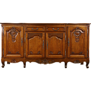 Country French Hand Carved Oak 1920 Antique Sideboard, Server or Buffet