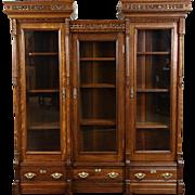 Victorian Eastlake 1880's Antique Carved Oak Triple Library Bookcase
