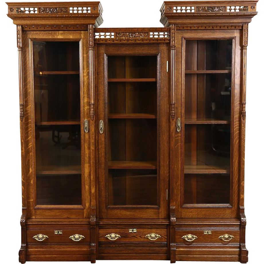 Victorian Eastlake 1880's Antique Carved Oak Triple Library Bookcase