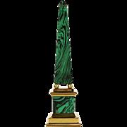 "Obelisk, 21"" Vintage Brass & Faux Malachite"