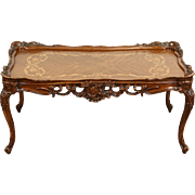 French Style Carved 1940's Vintage Coffee Table, Marquetry Top