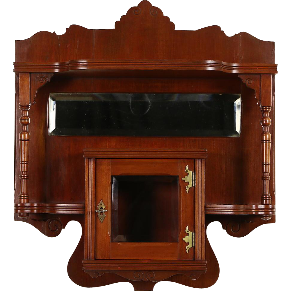 Victorian Eastlake 1880 Antique Cherry Wall Shelf & Cabinet, Beveled Mirror