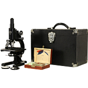 Microscope 1940 Vintage Medical Lab Model, Case, Signed Spencer American Optical