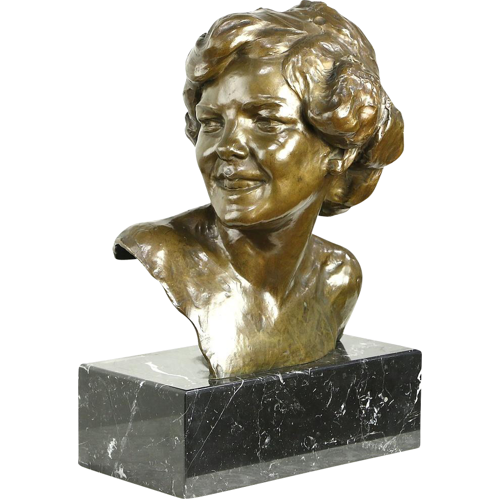 Toon Dupuis Bronze Sculpture, 1930 era Bust of a Young Girl, Marble Base