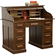 Rolltop 1910 Antique Solid Oak Desk, File Drawer, Made in Germany