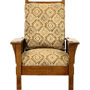 Stickley Signed Craftsman Oak Vintage Morris Recliner Chair, New Upholstery