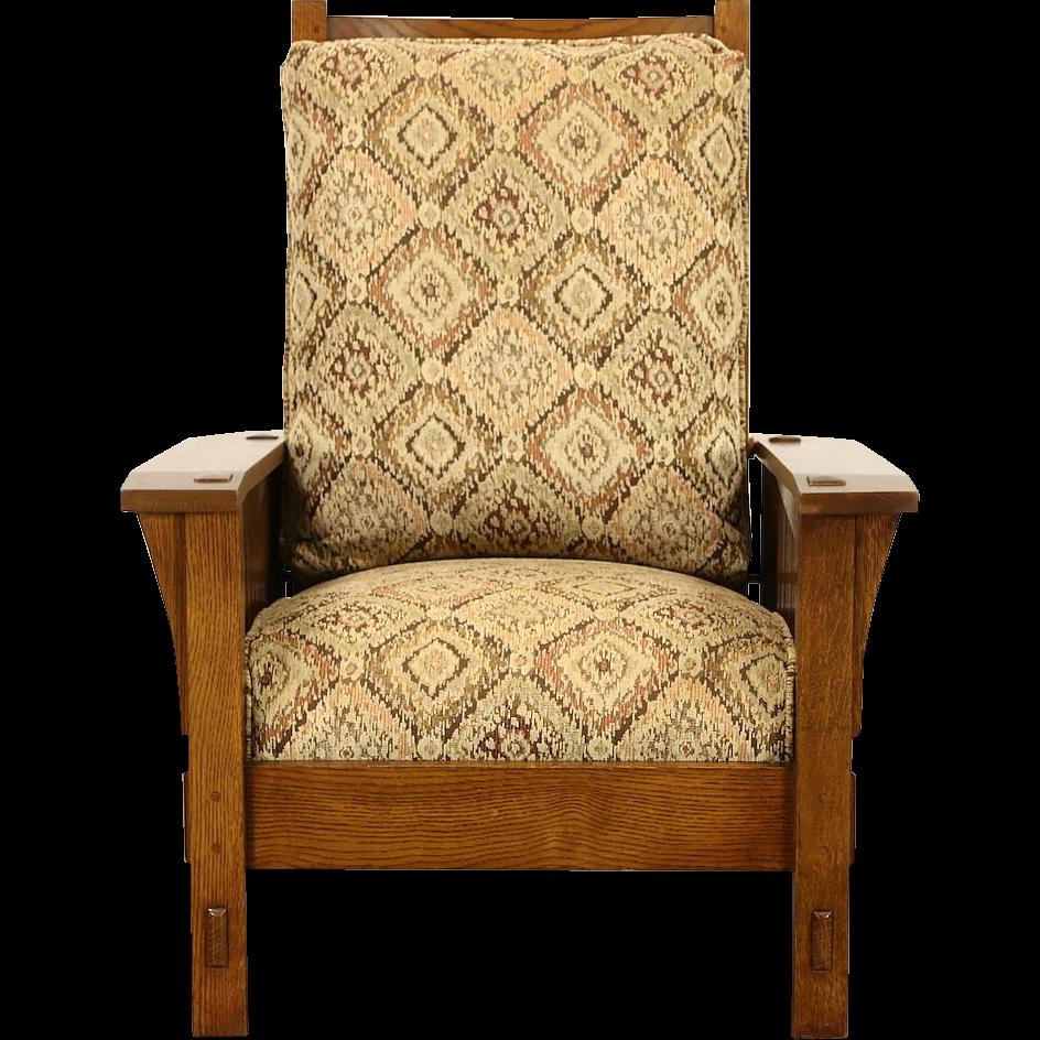 Stickley Signed Craftsman Oak Vintage Morris Recliner Chair, New Upholstery