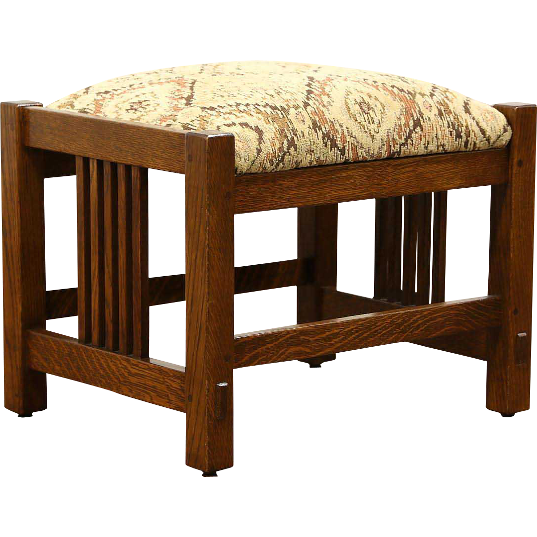 Stickley Signed Craftsman Oak Vintage Footstool or Bench, New Upholstery