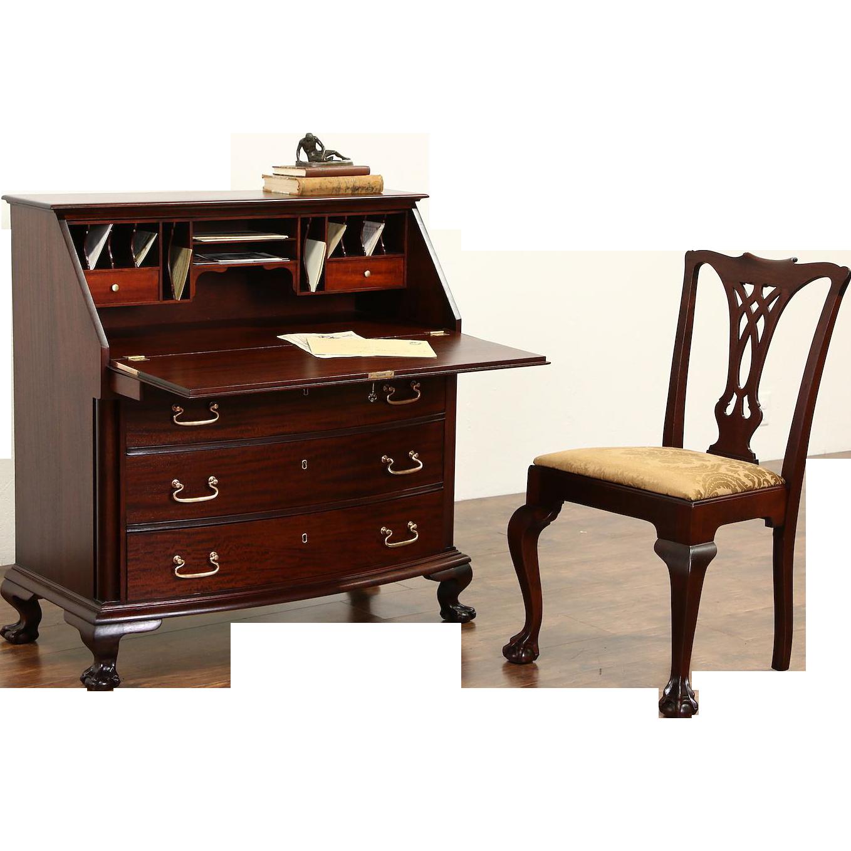 Georgian 1910 Antique Mahogany Secretary Desk & Chair, Carved Ball & Claw Feet