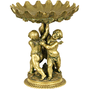 Bronze 1900 Antique Sculpture, Three Angels or Cherubs, Seashell Motif