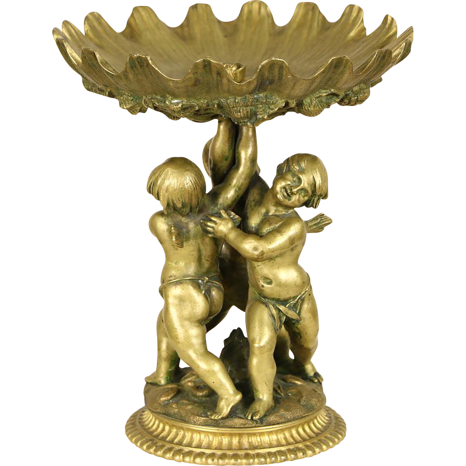 Bronze 1900 Antique Sculpture, Three Angels or Cherubs, Seashell Motif