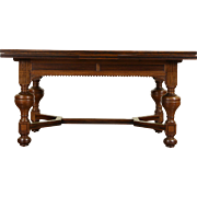 Dutch Renaissance 1890 Antique Oak & Rosewood Library Dining Writing Table