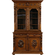 Black Forest 1880 Antique Oak Bookcase or China Cabinet, Carved Bird & Fish