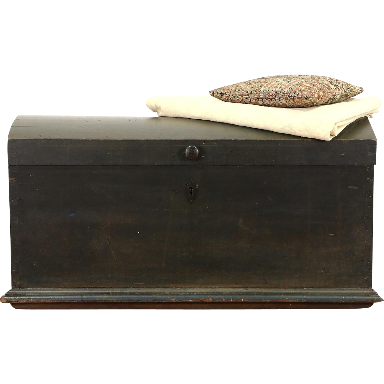 Country Pine 1840's Antique Immigrant Trunk or Blanket Chest