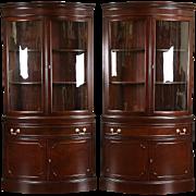 Pair of Georgian Design Vintage Mahogany Curved Glass Corner Cabinets