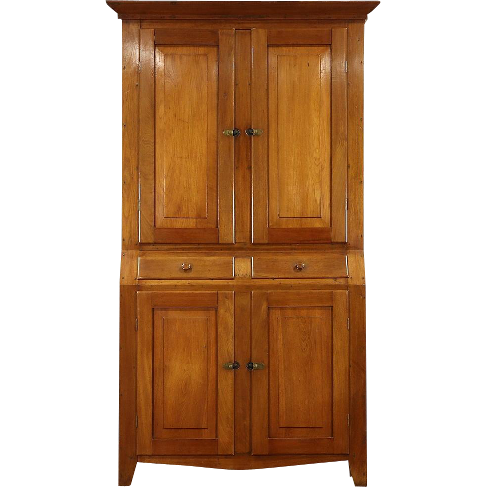 Country Walnut Ohio 1860's Antique Pantry Cupboard