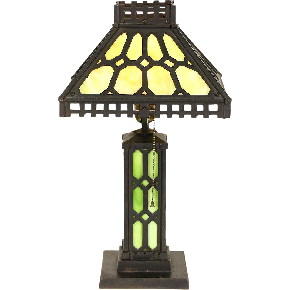 Arts & Crafts Mission Period 1905 Antique Iron Lamp, Stained Glass