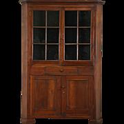 Pennsylvania 1850's Antique Walnut Cupboard Corner Cabinet, Wavy Glass Panes