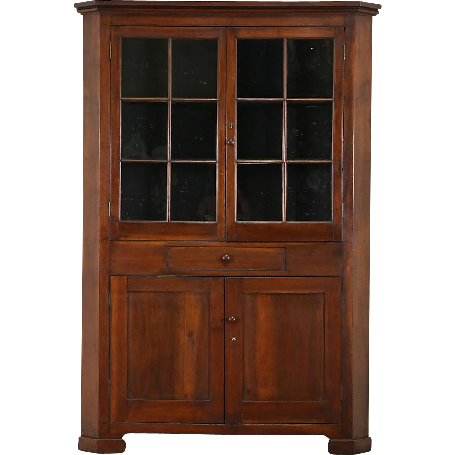 Pennsylvania 1850's Antique Walnut Cupboard Corner Cabinet, Wavy Glass Panes
